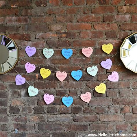 Diy Conversation Heart Banner With Free Printables