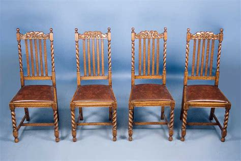 set of 4 antique oak barley twist dining chairs for sale