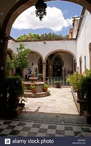 Interior, Courtyard, Of, A, Spanish, Colonial, House, In, San