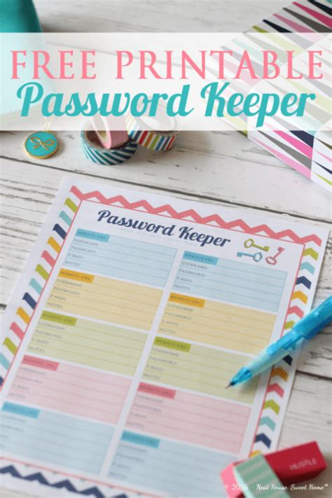 password keeper template  printable  images