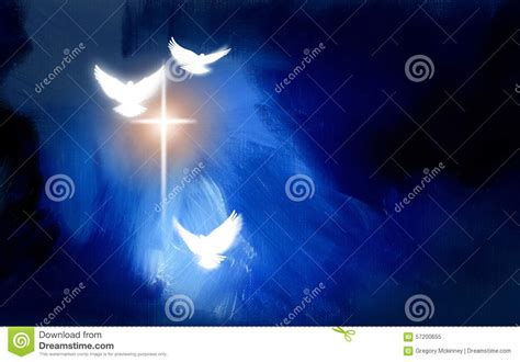 christian glowing cross  doves stock illustration