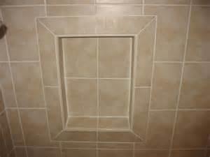 mitered tiles around niche upstairs bath