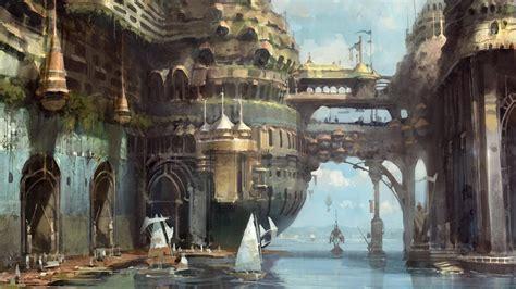 fantasy art boats concept sails docks sea wallpaper