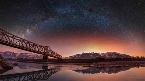 lake bridge stars switzerland wallpapers hd desktop