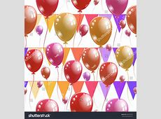 Seamless Birthday Pattern Colorful Background Print Stock