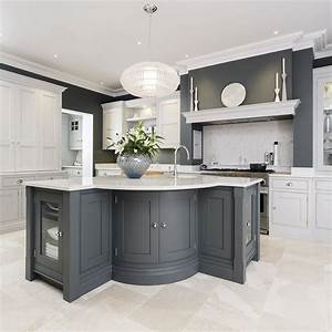 Grey kitchen ideas that are sophisticated and stylish for Kitchen cabinet trends 2018 combined with navy blue and white wall art