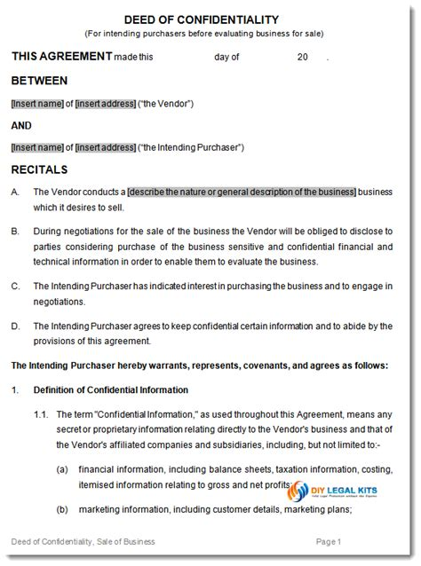 Boat Co Ownership Agreement Template by Deed Of Confidentiality Template For Sale Of Business