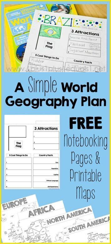 a simple world geography plan with notebooking and map