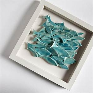 school of fish modern wall art sculptural ceramic tile With ceramic wall art