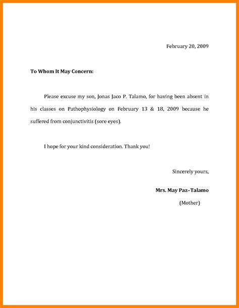 excuse letter for school sle of excuse letter for high school students