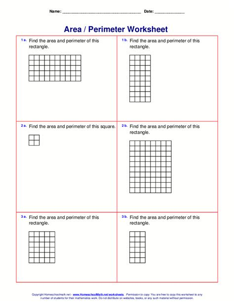 area and perimeter worksheets rectangles and squares
