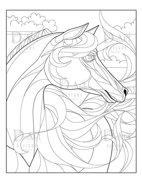 Fire Horse Coloring Page - Horse - Flowing Horse Main