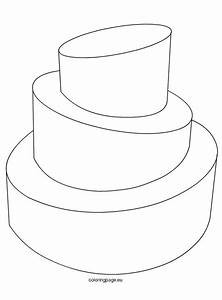 Wedding Cake Template  U2013 Coloring Page