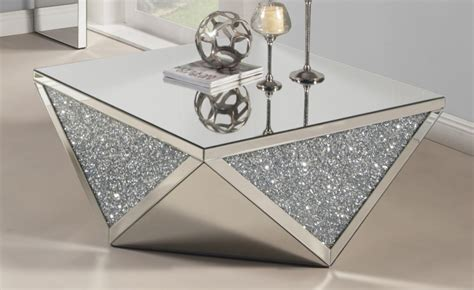 cleo clear glass  silver dazzle coffee table las