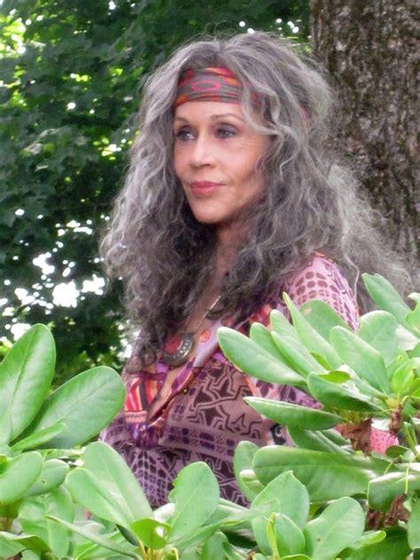 great jane fonda grey hair inspiration peace love