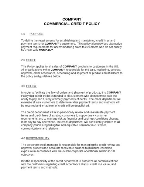 company policy template credit policy templates word excel sles