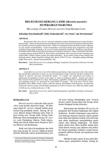 BIO-ECOLOGI KERANG LAMIS (Meretrix meretrix) DI PERAIRAN
