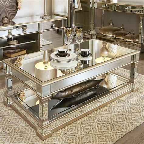 andreas champagne gold trim mirrored coffee table   brands