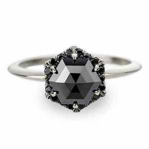 Unique Black Diamond Engagement Ring Hexagon Diamond