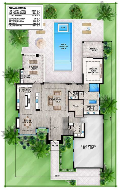 Floor Master House Plans by Master Modern House Plan With Outdoor Living Room