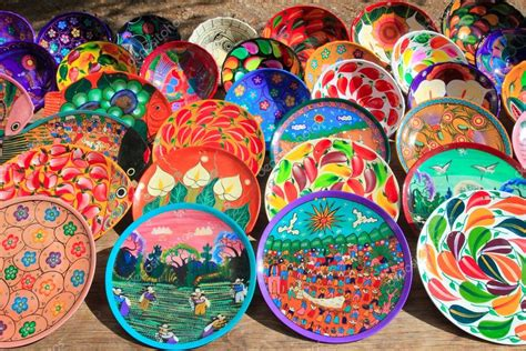 Clay ceramic plates from mexico colorful Stock Photo
