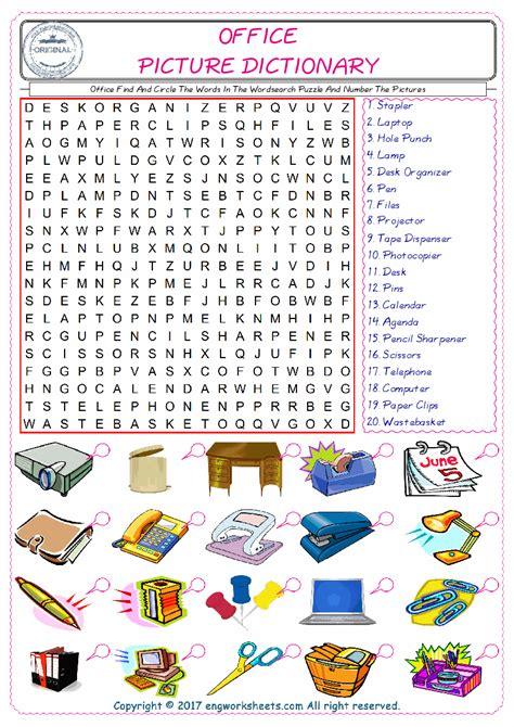 office english worksheet  kids esl printable picture