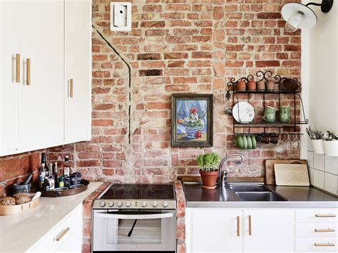 Exposed Brick Kitchen Backsplash Cream Large Tile Flooring