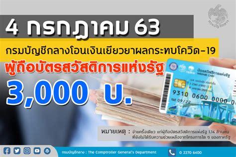 กรมบัญชีกลางเตรียมจ่ายเงินช่วยผู้ถือบัตรสวัสดิการฯ ที่ยัง ...