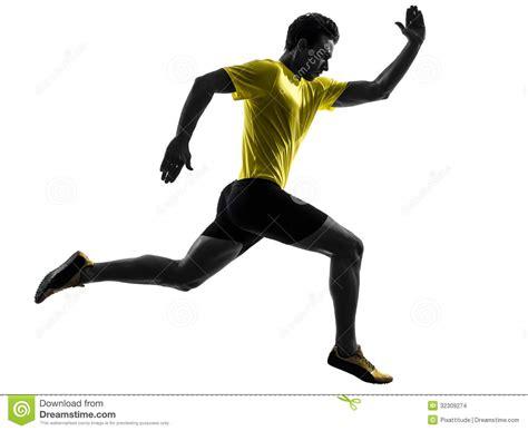 Young Man Sprinter Runner Running Silhouette Stock Photo ...