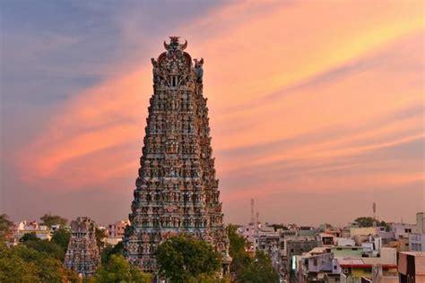 sunset west gopuram minakshi temple madurai photo