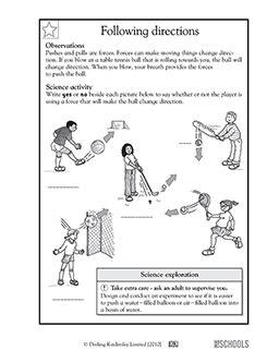 kindergarten  directions printable worksheets