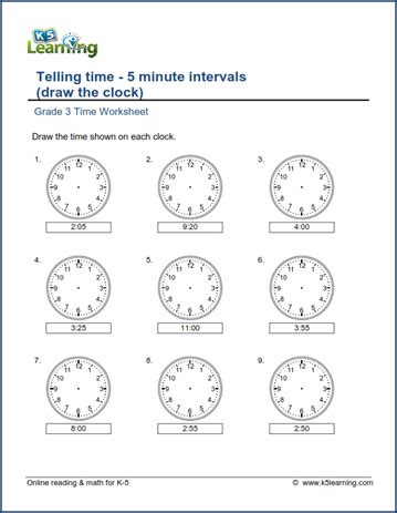 grade 3 telling time worksheet draw the clock 5 minute