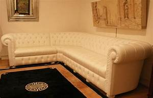 grand canape d39angle chesterfield en cuir blanc 4897 With canapé d angle chesterfield blanc