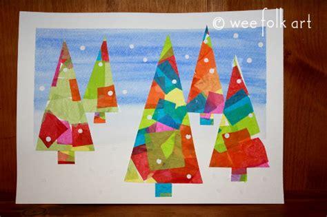 christmas card craft ks2 winter tissue paper trees 187 wee folk