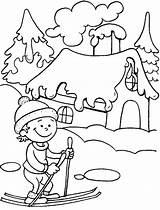 Coloring Winter Ski Season Skiing Printable Nature Ride Drawing Printables Doo Sheets Drawings Prints Coloriage sketch template