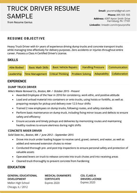 truck driver resume sample  tips resume genius