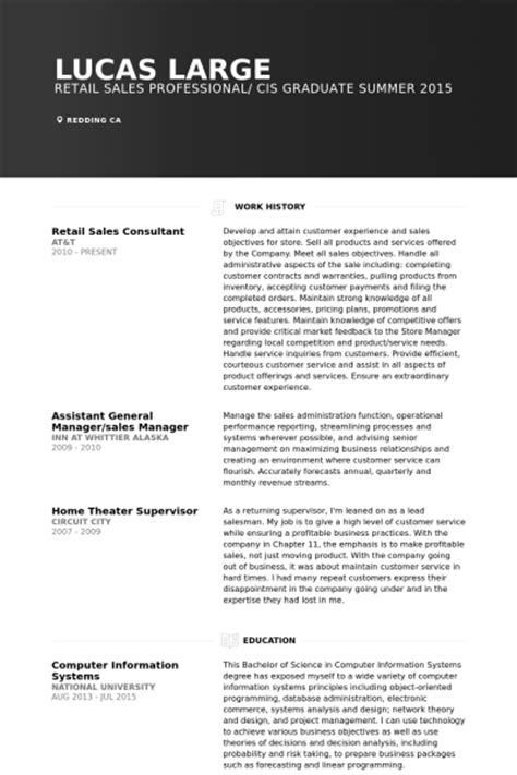 retail sales consultant resume sles visualcv resume