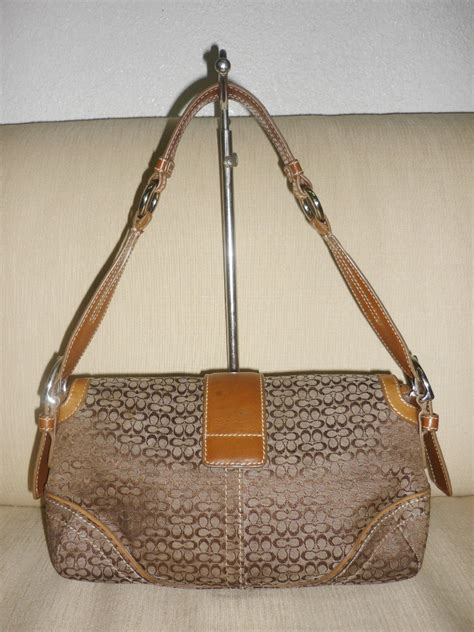 yus branded bag authentic coach leather brown handbag