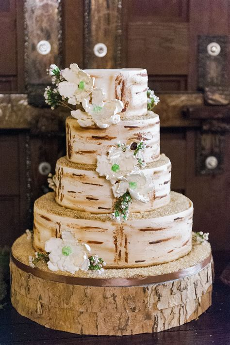 rustic hand painted birch bark wedding cake
