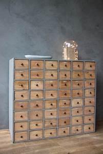 Meuble Multi Tiroirs : meuble rangement bois multi multiple tiroirs style industriel loft meubles pinterest loft ~ Teatrodelosmanantiales.com Idées de Décoration