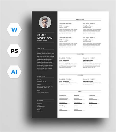 11370 minimal resume psd 10 free resume cv template cover letter in word psd