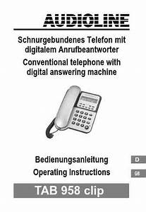 Audioline Tab 958 Clip Mobile Phone Download Manual For