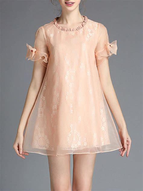 shop casual short sleeve organza crew neck mini dress