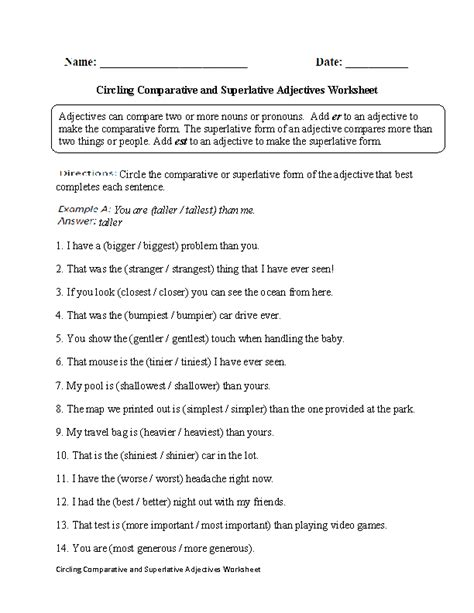 adjectives worksheets comparative and superlative