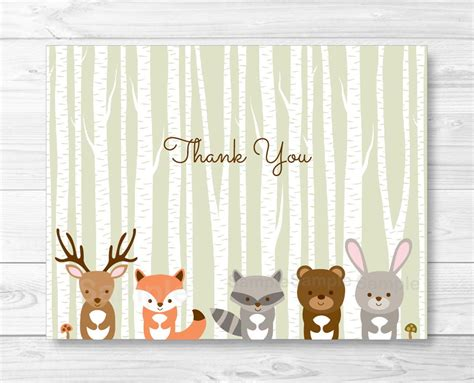 animal thank you card template woodland forest animals folded thank you card template fox