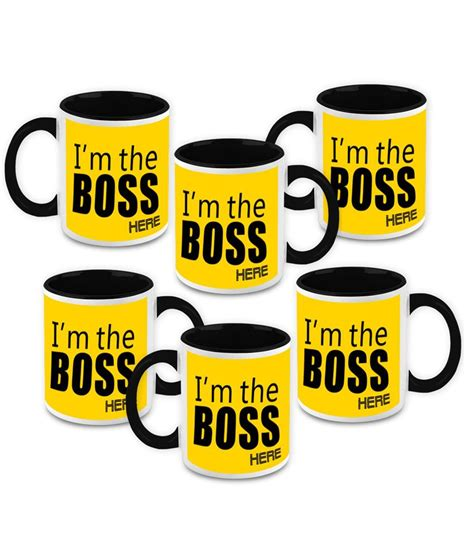 The highest quality printing possible is used. HomeSoGood I'm The Boss Here Quote White Ceramic Coffee Mug - 325 ml (Set Of 6): Buy Online at ...