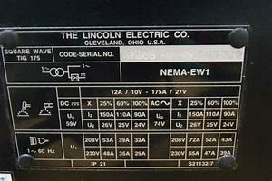Lincoln Electric Square Wave Ac  Dc Tig Welder 175 220v Single Phase K870 L8118