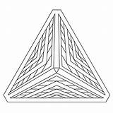 Coloring Pyramid Pages Optical Illusion Geometric Illusions Printable Drawing 3d Triangle Adult Adults Geometry Pyramids Shape Egyptian Line Shapes Mandala sketch template
