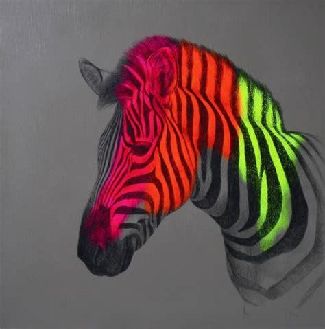 drawing painting animal nature zebra neon horse wild