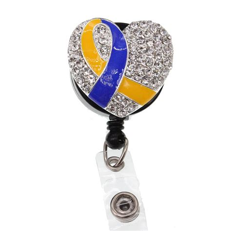 enamel rhinestone ribbon heart nurse retractable id badge